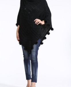 Black Turtleneck PomPom Cable Knit Poncho