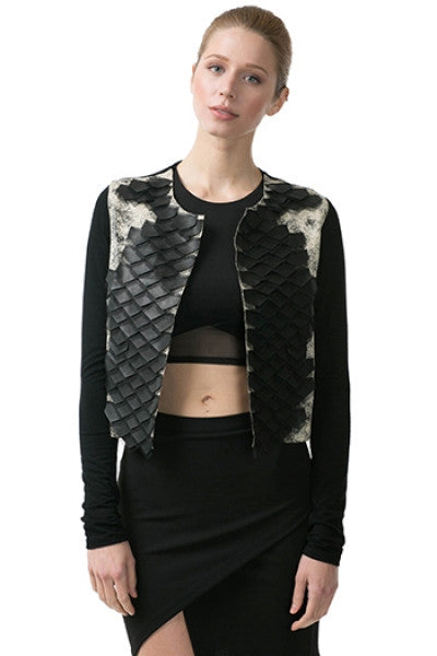 Contrast Faux Leather Detailed Jacket