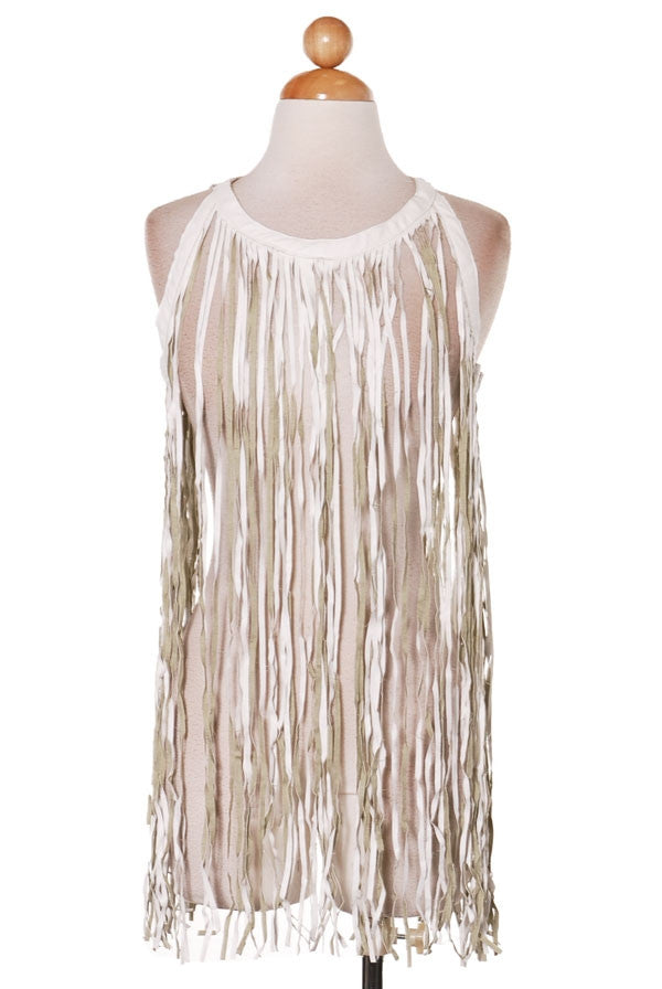 White and Beige Fringe Tank