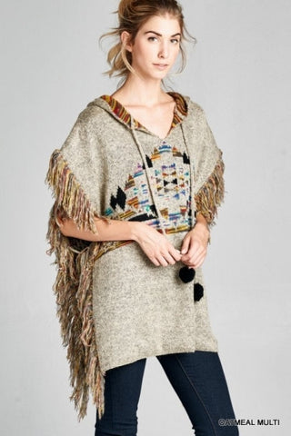 Tan Hooded Tribal Print Fringed Sweater Poncho