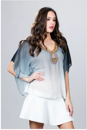 Ark & Co Beaded Embellished Grey Ombre Chiffon Sheer Top