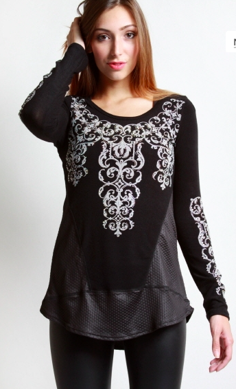 Midnight Stars Long Sleeve Stone Embellished Faux Leather Top