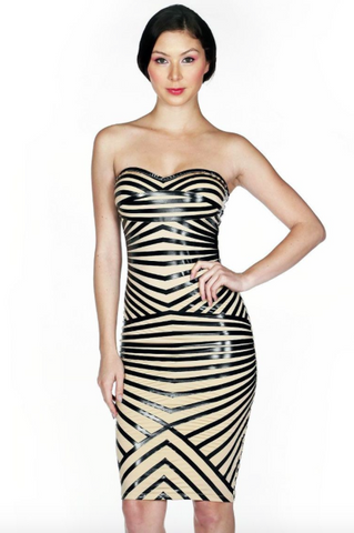 Strapless Striped Body Con Pencil Dress