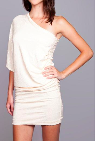 Cream Sequined Embellished Asymmetrical Dress