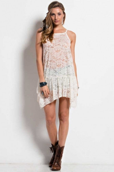 Easel Ivory Lace Layering Tank (Made USA)
