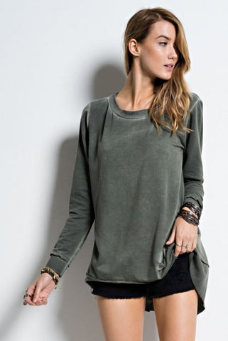 Easel Olive Oil Washed Loose Long Sleeve French Terry Tunic