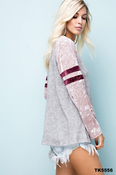 Pink Crushed Velvet Long Sleeve Jersey Knit Top