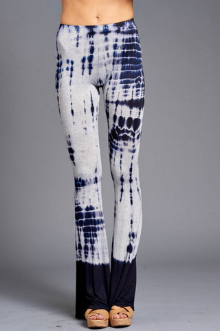 Navy and GreyTie-Dye Stretch Flare Palazzo Leggings