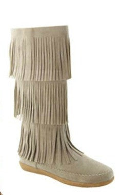 Taupe Mid-Calf 3-Layer Fringe Mocassin Boot