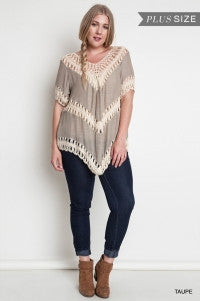 VB+ Taupe Crochet Knit Top