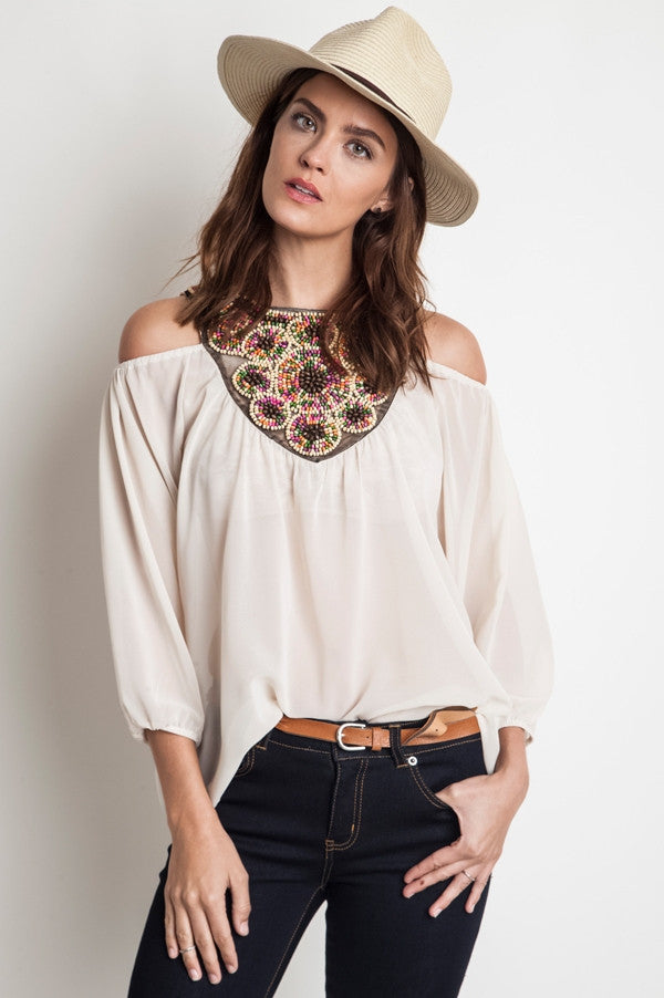 Champagne Beaded Cold Shoulder Chiffon Tunic