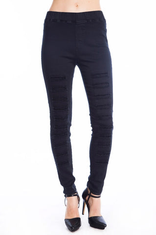 Black High Waisted Ripped Distressed Leggings