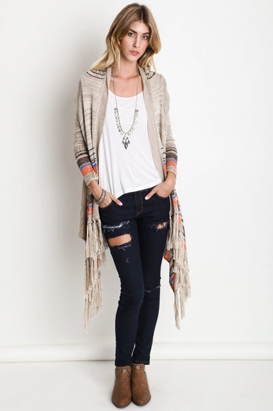 Striped Tan Long Sleeve Cardigan w/ Long Fringe Trim