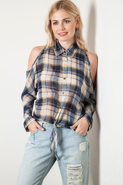 Navy Plaid Chiffon Cold Shoulder Button Up Top