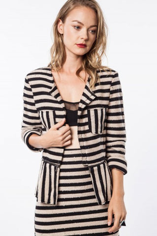 Black & Beige Striped Peplum Jacket