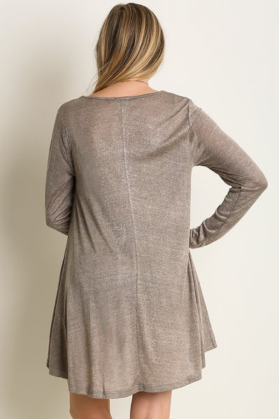 Mocha Long Sleeve Knit Dress Top with Lace Detail