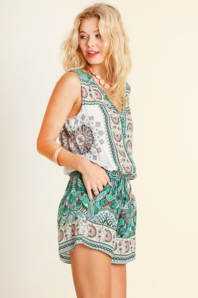 Mint Printed Romper