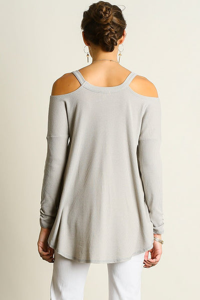 Grey Cold Shoulder Waffle Tunic