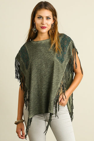 Olive Washed Poncho with Fringe Detail