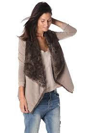 Q2 Beige Open Front Cardigan Jacket with Faux Fur Collar