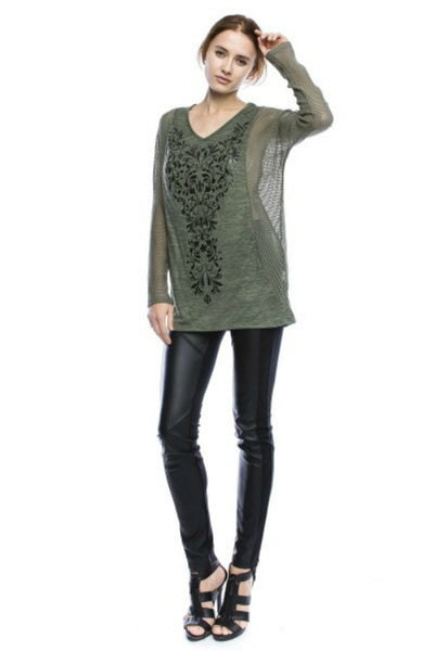 Olive Crush Long Sleeve Mesh Top with Print and Stone Detail