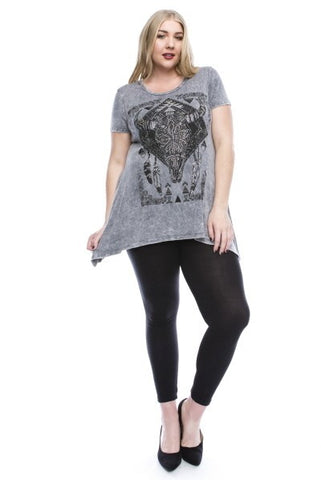 Grey Washed Knit Tunic with Bull Print and Stone Detail