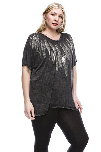 Feather Light Black v-Neck Washed Knit Tunic Top