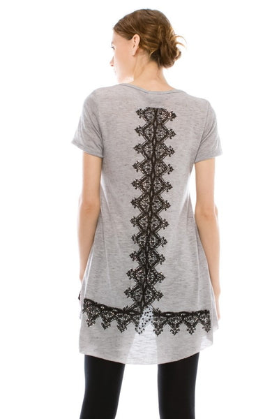 Grey Lace Detail & Stone Embellished Top