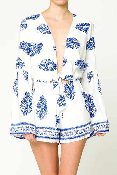 Lady Belle Tie Front Long Sleeve Romper