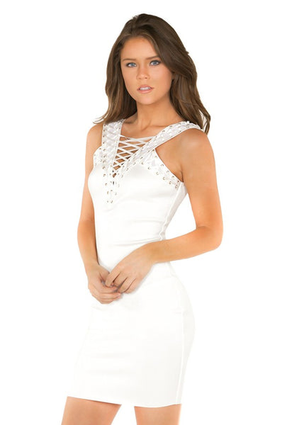 White Lace Up Bandage Dress