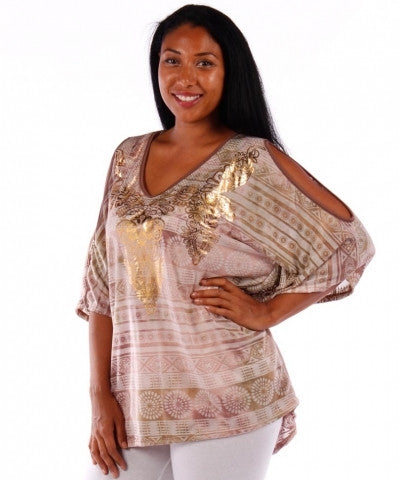 Plus Print Top w/Foil Graphic Open Sleeve