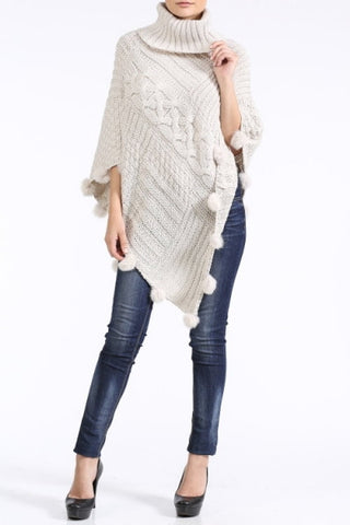 Ivory Turtleneck PomPom Cable Knit Poncho