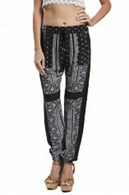 Blu Pepper Black Patterned Print Woven Pant