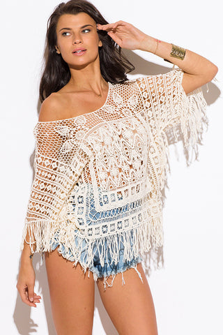 Beige Crochet Fringe Top