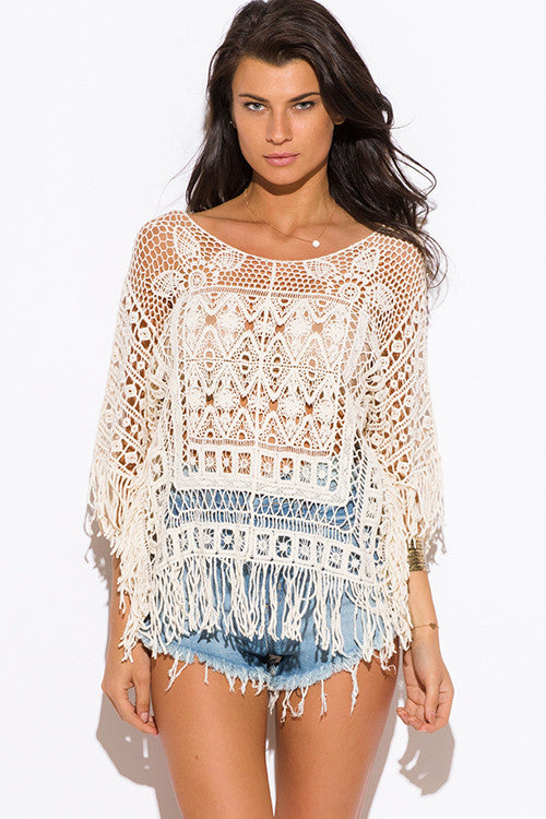 Beige Crochet Fringe Top Velvet Bungalow Boutique