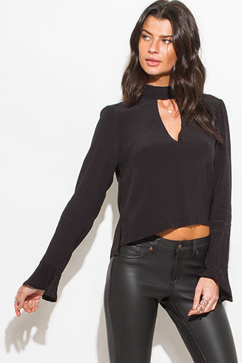 Black Chocker Mock Long Sleeve Boho Blouse Top
