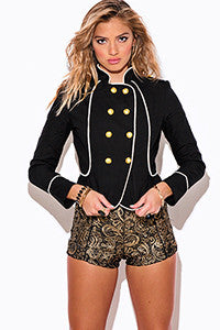 Black Double Breasted Button Up Military Jacket