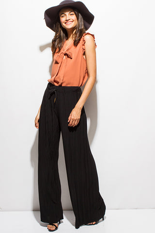 Black Pleated Drawstring BoHo Culotte Palazzo Pant