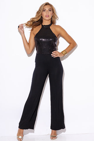 Black Halter Sequined Top Wide Leg Jumpsuit