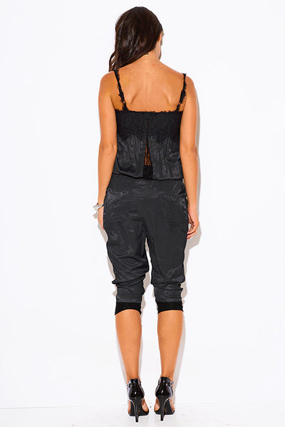 Black Smocked Dull Harem Cropped Capri Jumpsuit
