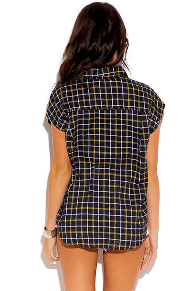 Black Studded Plaid Boxy Flannel Blouse Top