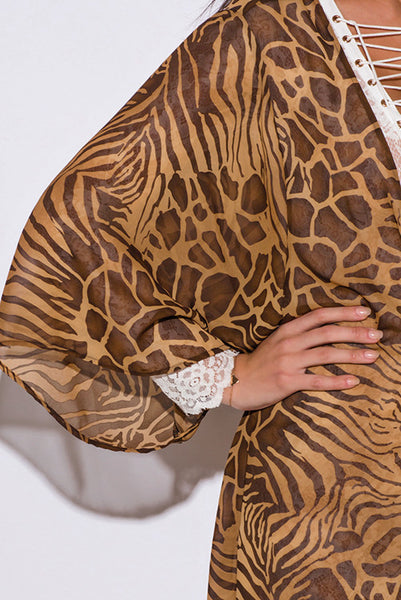 Brown Abstract Animal Print Sheer Chiffon Kimono Cover Up