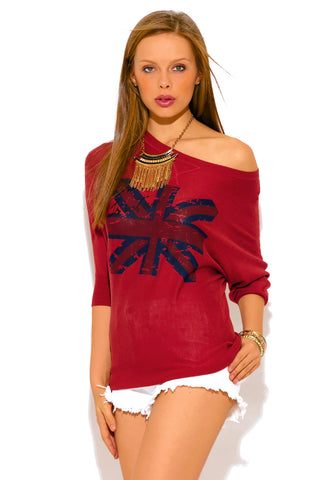 Burgundy Red UK OFF Shoulder Tunic