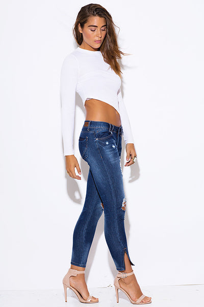 Ripped Knee Distressed Ankle Crop Skinny Jeans