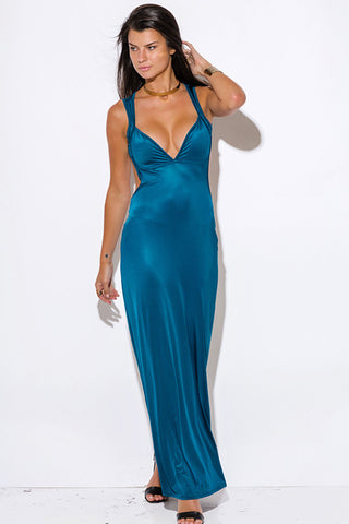 Teal Backless Long Maxi Dress