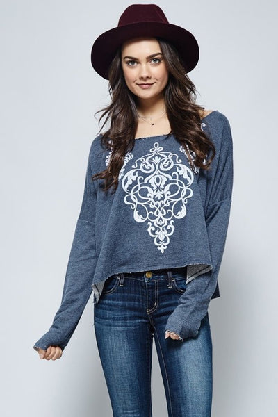 Navy Raw Edge Damask Graphic Crop Top