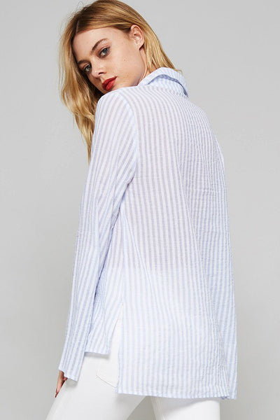 Blue & White Striped Lace Up Collar Blouse