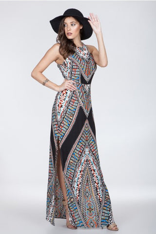 Ark & Co Black Tribal Print Maxi Dress