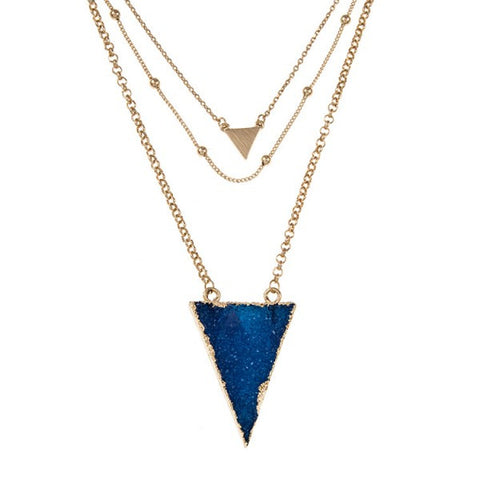 Triple Layered Triangle Druzy Stone Pendant Necklace Set