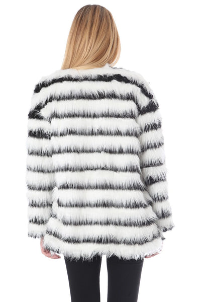 Black and White Striped Faux Fur Jacket